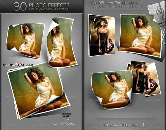 30种立体相框照片效果PS动作