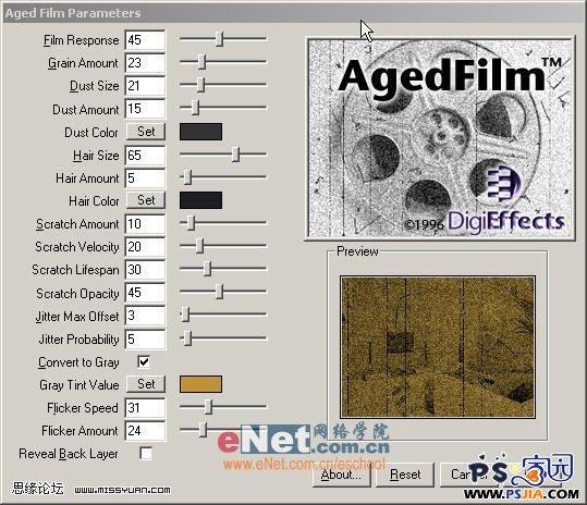 digieffects老照片滤镜—Agedfilm 汉化版