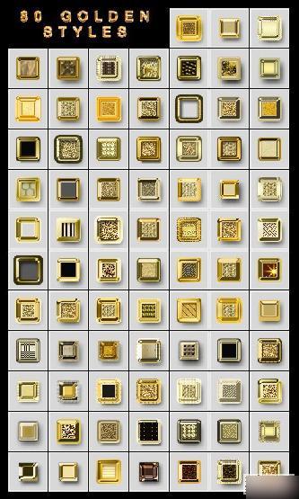 PS黄金样式,80种黄金字样式下载