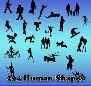 多种人物影像形状、人物影子形状
