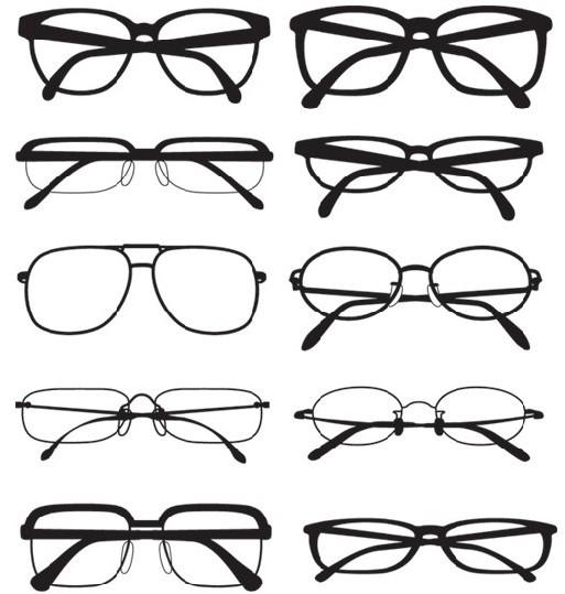 多种矢量眼镜样式、镜框样式