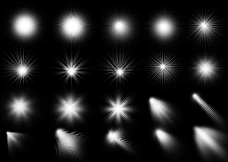20种光线闪烁、太阳光、射线、光照效果Photoshop笔刷