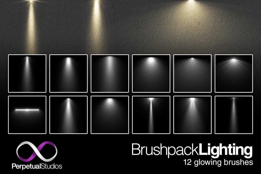12种灯光照射效果、光照投射、投影PS笔刷素材下载
