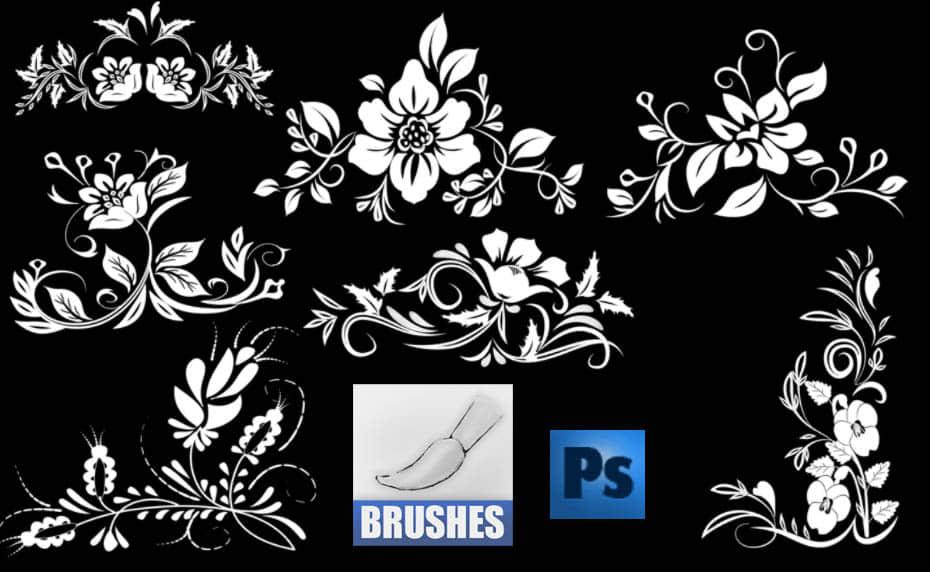 秀美的花朵花纹印花图案Photoshop笔刷免费下载