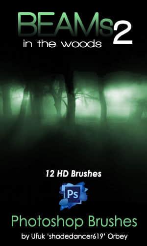 林间光束、阴森森环境光、森林中的阳光照射效果Photoshop光照笔刷