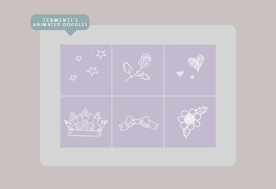 可爱卡通手绘星星、爱心、玫瑰花、皇冠等PS笔刷素材(GIF透明图片格式)