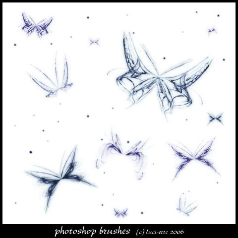 魔幻光线蝴蝶效果PS美图笔刷