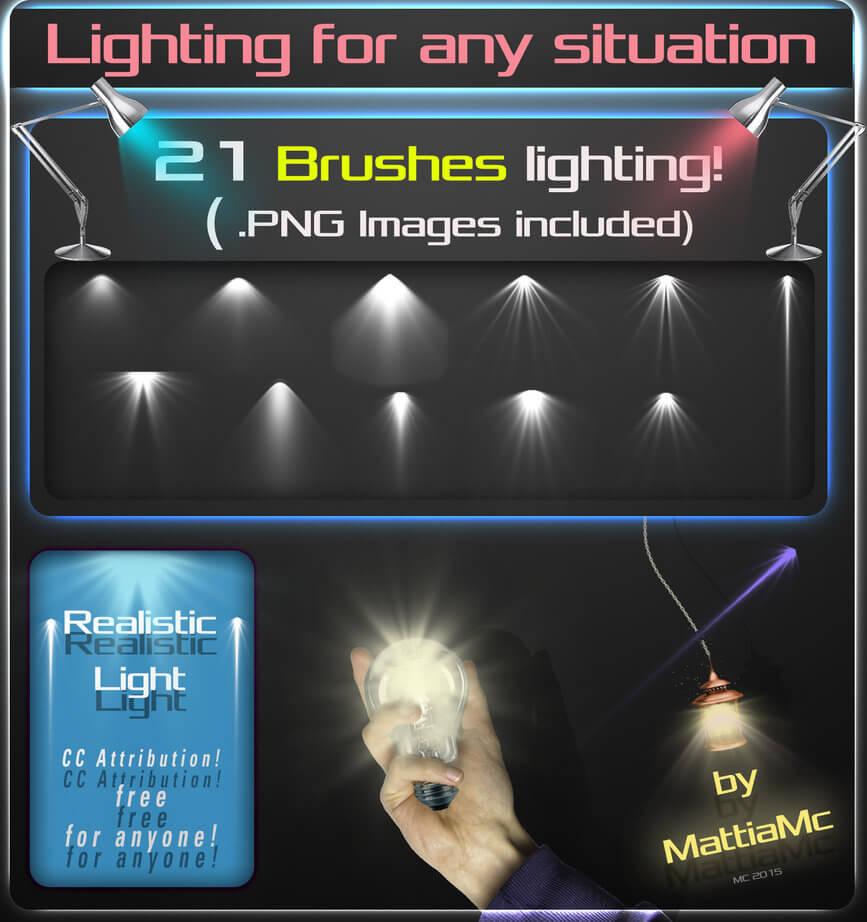 21种酷炫灯光照射、台灯光照、灯光光影布置PS光线笔刷素材