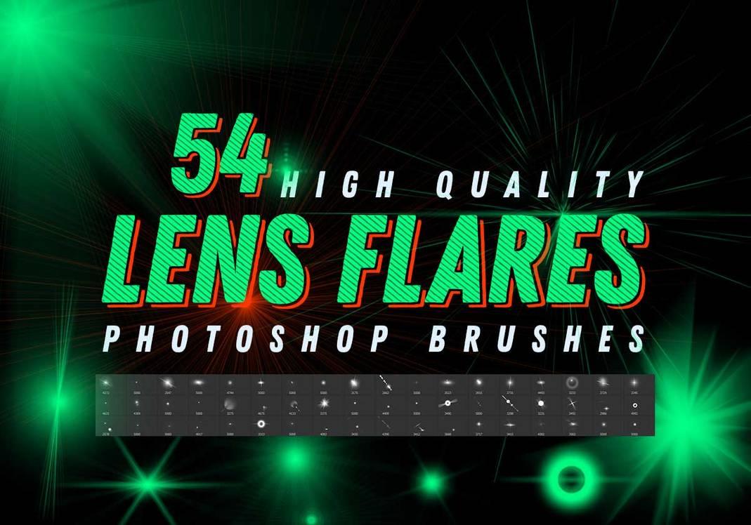 54种耀斑、光芒、光束、闪烁点、高光、光晕PS笔刷素材
